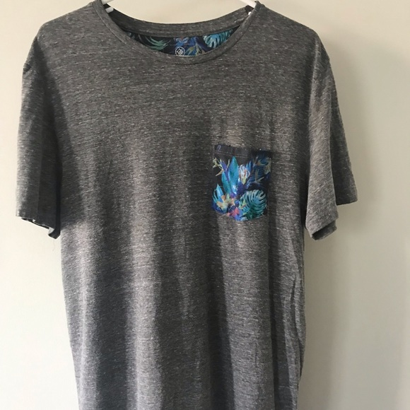 on the byas Other - Gray Tshirt W/ Tropical Blue Pocket